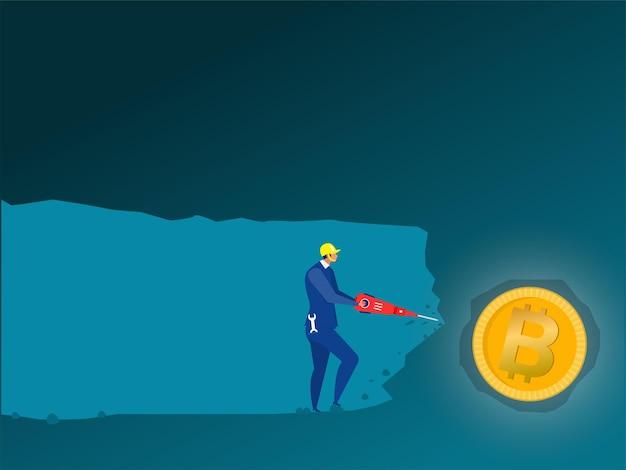 Uomo d'affari usa trapano alla scoperta di bitcoin