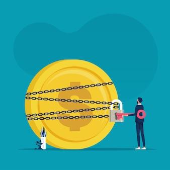 L'uomo d'affari usa una chiave per sbloccare la moneta dei soldi dal concetto di problemi finanziari e di affari delle catene