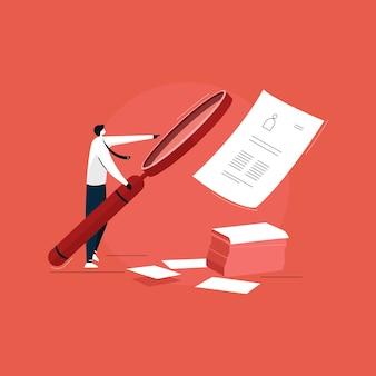 Uomo d'affari facendo uso della grande lente d'ingrandimento per l'assunzione di lavoro, offerta di lavoro, illustrazione di assunzione di lavoro