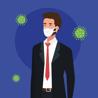 Uomo d'affari che usando la maschera di protezione con progettazione dell'illustrazione di vettore di 2019-ncov delle particelle