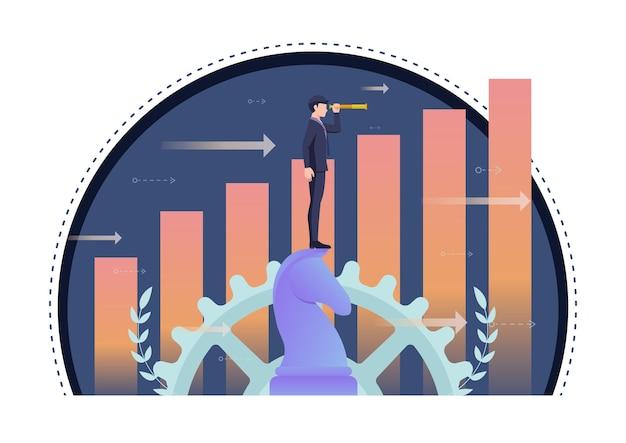 Uomo d'affari che utilizza il telescopio sugli scacchi del cavallo con il grafico di crescita nel fondo. visione aziendale e concetto di leadership.