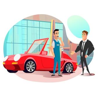 Illustrazione di visit tire repair service dell'uomo d'affari