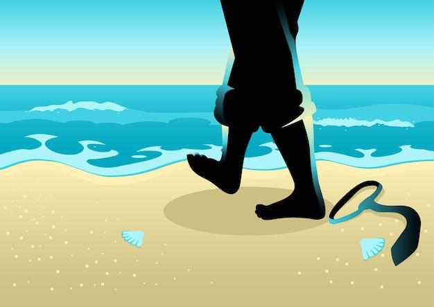 Uomo d'affari che cammina sulla spiaggia