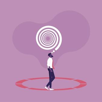 Uomo d'affari che cammina in cerchio monotonia aziendale e concetto di motivazione