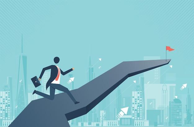 Uomo d'affari che cammina in avanti sulla freccia e pianifica di superare gli ostacoli e le sfide da raggiungere