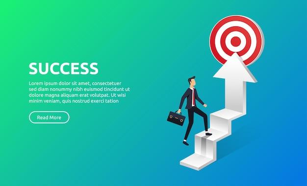 Uomo d'affari che cammina sulla scala verso l'obiettivo, il successo e il concetto di carriera