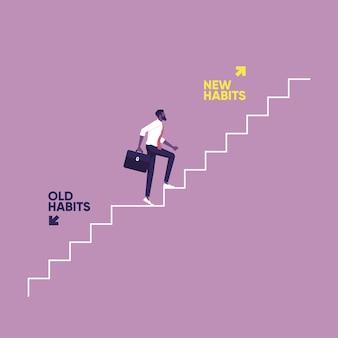 Uomo d'affari che sale le scale verso nuove abitudini in modo vecchie abitudini e nuove scelte di abitudini