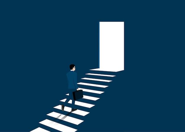 Uomo d'affari che sale le scale verso il successo e il raggiungimento degli obiettivi. concetto di avvio aziendale. successo, carriera, successo, illustrazione vettoriale piatta