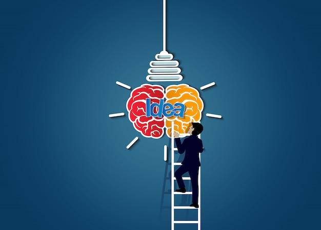 L'uomo d'affari che cammina su sulla scala va alla lampadina dell'icona del cervello,