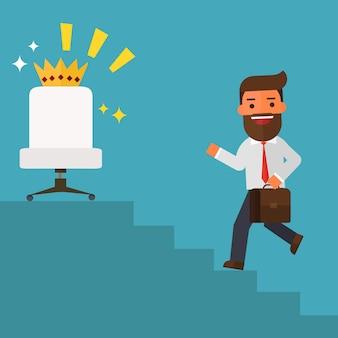 Businessman walking up stairs va in posizioni di leadership