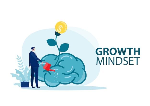Uomo d'affari innaffia il cervello grande delle piante per il vettore del concetto di mentalità di crescita