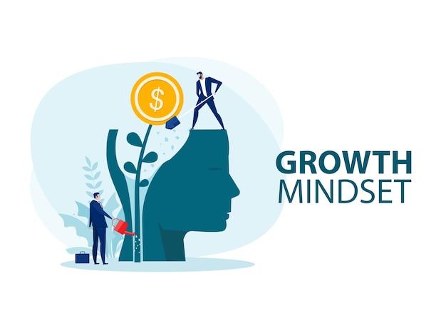 Uomo d'affari innaffia i soldi delle piante pensa al vettore di concetto di mentalità di crescita
