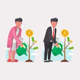 Uomo d'affari che innaffia l'albero dei soldi per la pianificazione di pensionamento e di affari
