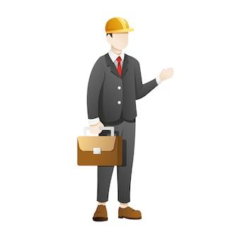 Il casco della costruzione di usura dell'uomo d'affari e trasporta i bagagli