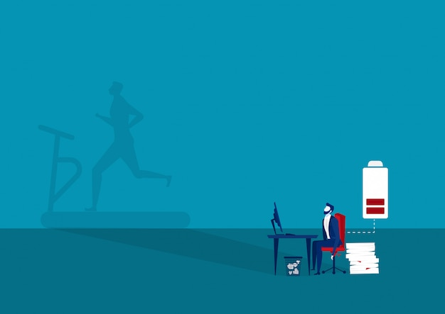 L'esercizio di desiderio dell'uomo d'affari dopo duro lavoro per aggiunge la piena energia
