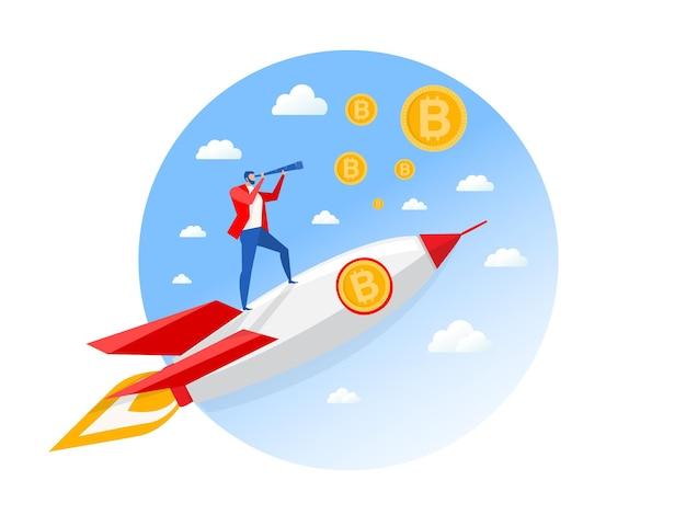 Uomo d'affari con bitcoin guardando attraverso un telescopio su un razzo. l'uomo fa progetti e investe per il futuro.