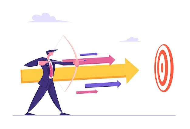 Uomo d'affari con arco e freccia che mira alla crescita finanziaria illustrazione dell'obiettivo