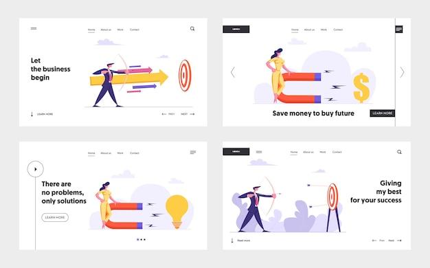 Uomo d'affari con arco e freccia che mira target target concept landing page set