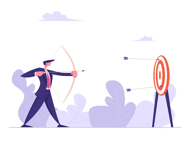 Uomo d'affari con arco e freccia che mira illustrazione dell'obiettivo