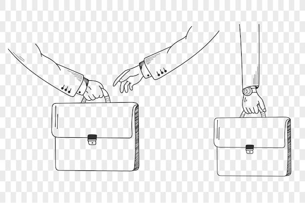 Uomo d'affari con valigetta. insieme di scarabocchi. illustrazione vettoriale. isolato dallo sfondo, eps 10