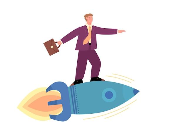 Uomo d'affari con la cartella che vola sull'illustrazione di vettore del fumetto del razzo isolata