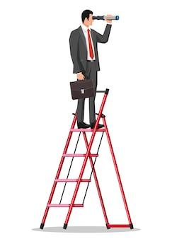 Uomo d'affari con valigetta sulla scala in cerca di opportunità nel cannocchiale. uomo d'affari con telescopio. cerca nuove prospettive. guardando al futuro. leadership o visionario. illustrazione vettoriale piatta