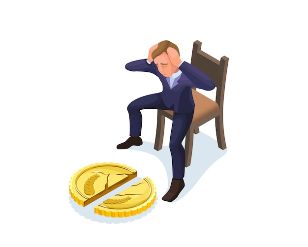 Uomo d'affari con moneta rotta