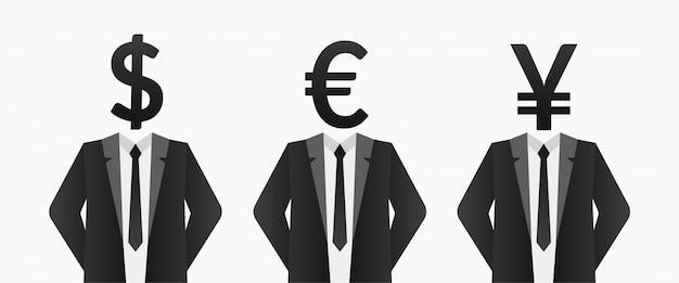 Uomo d'affari con valuta invece della testa, concetto di cambio