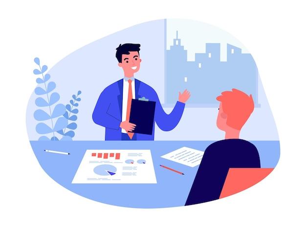 Uomo d'affari con documenti che parlano con uomo al tavolo dell'ufficio. responsabile dei ricorsi umani che racconta l'illustrazione piana di vettore dell'azienda. colloquio di lavoro, risorse umane, concetto di reclutamento per banner, progettazione di siti web