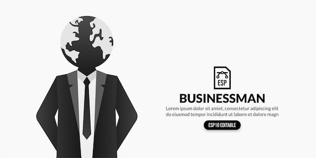 Uomo d'affari con terra invece della testa su fondo bianco con lo spazio della copia