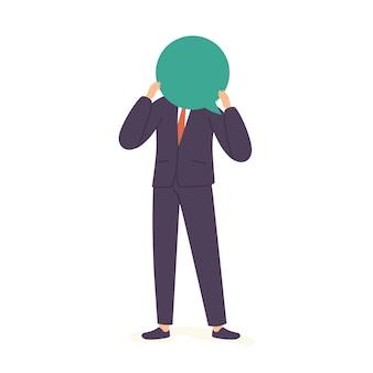 Uomo d'affari con palloncino di dialogo vuoto, uomo che pensa, personaggio maschile con viso a fumetto isolato su sfondo bianco