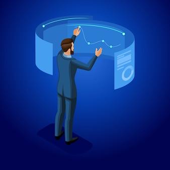 Uomo d'affari con gadget, giovane imprenditore, gestisce gadget attraverso online, schermo virtuale, realtà virtuale