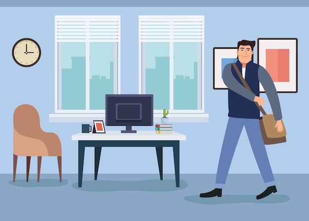 Uomo d'affari con la borsa che cammina nell'illustrazione dell'ufficio