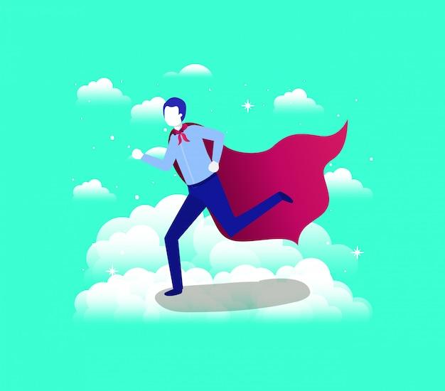 Uomo d'affari con cappotto di eroe in esecuzione nel cielo
