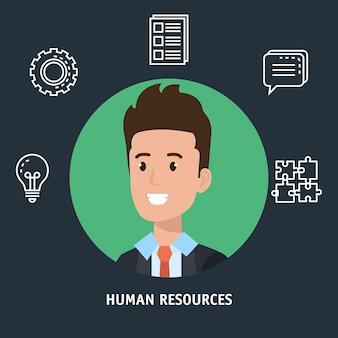 Uomo d'affari con le risorse umane impostare icone