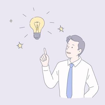 Uomo d'affari con lampadina in stile linea