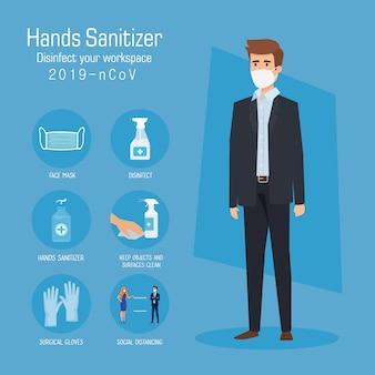Uomo d'affari con consigli di prevenzione disinfettante per mani e maschera