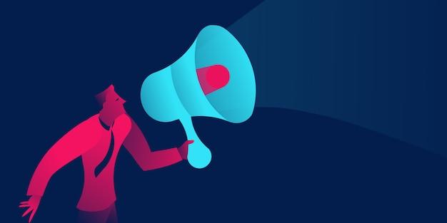 Uomo d'affari con il megafono, pr, concetto di business marketing