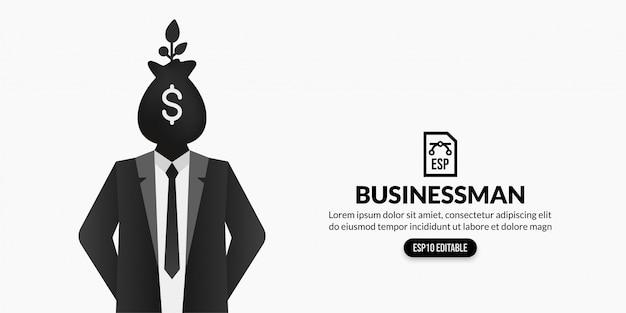 Uomo d'affari con la pianta della borsa dei soldi invece della testa su fondo bianco con lo spazio della copia