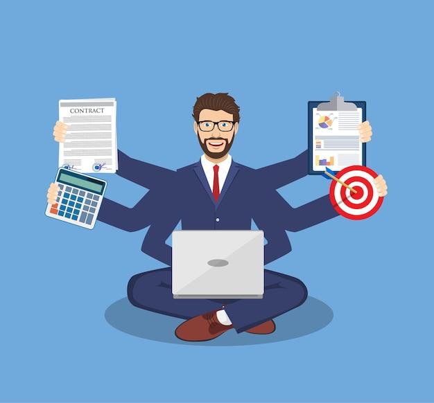 Uomo d'affari con molte braccia multitasking
