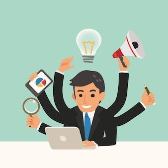 Uomo d'affari con l'illustrazione del fumetto di abilità multitasking