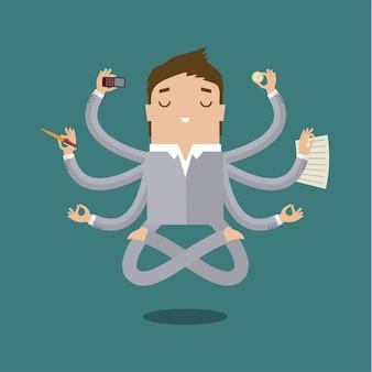 Uomo d'affari con multitasking