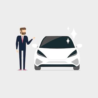 Uomo d'affari con auto nuove. il venditore o il proprietario di una nuova macchina.