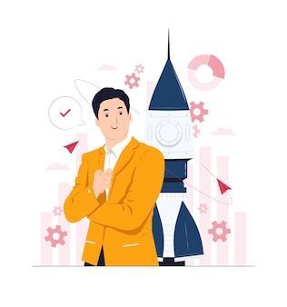 Uomo d'affari con il lancio della mano indicante del motore a razzo che avvia un'illustrazione di concetto di affari