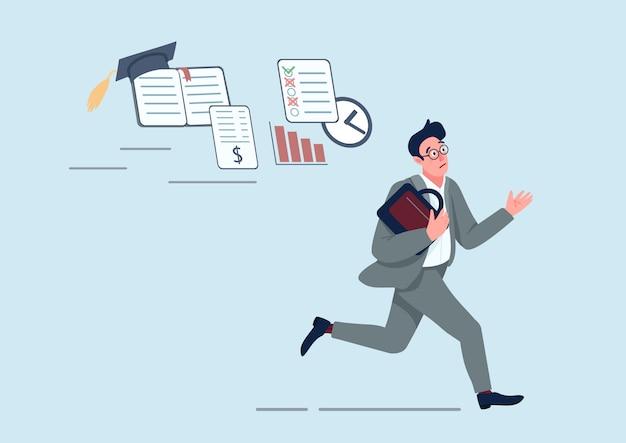 Uomo d'affari con l'illustrazione piana di concetto di problemi