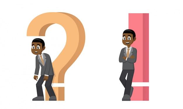Un uomo d'affari con punto interrogativo e punto esclamativo
