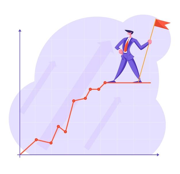 Uomo d'affari con bandiera rossa stare in cima alla curva del grafico aziendale in crescita