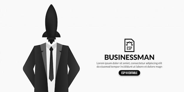 Uomo d'affari con il razzo invece della testa su fondo bianco con lo spazio della copia