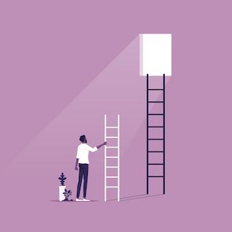 Uomo d'affari con scala guardando la finestra nel muro simbolo di sfida e motivazione