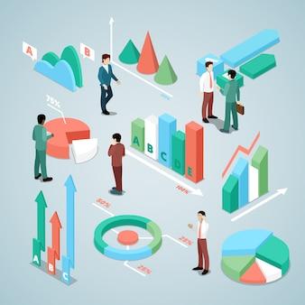 Uomo d'affari con illustrazione di elementi di statistica